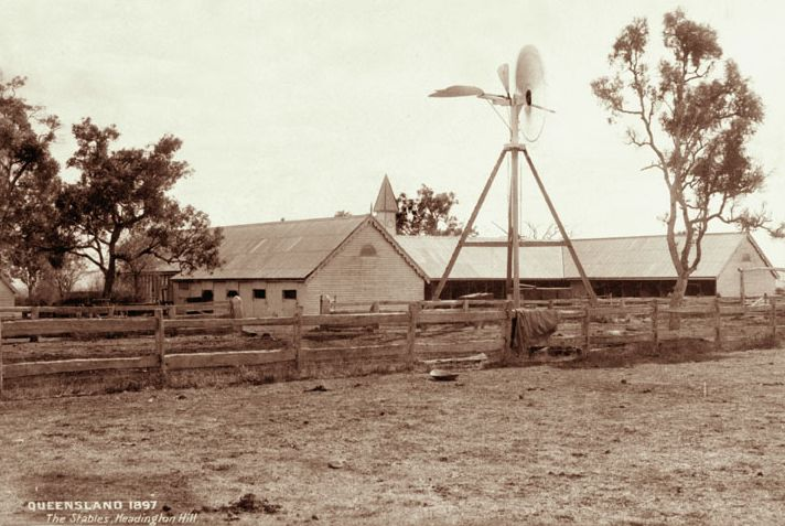 The Stables and windmill at Headington Hill, 1897