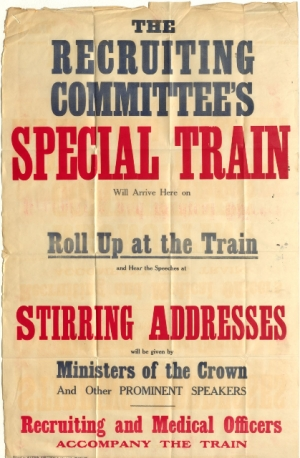 Queensland State Archives Digital Image ID 25155 Poster advertising the Recruiting Committee's Special Train, August 1916
