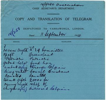 Correspondence regarding the Queensland Patriotic Fund making a donation to the Belgium relief Fund for distressed Belgians, 25 August 1914
