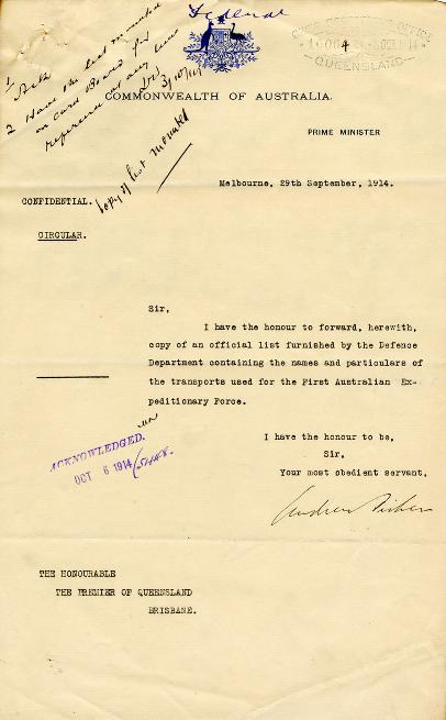 Correspondence relating to the requisition of sea vessels for use in the war effort, 29 September - 6 November 1914