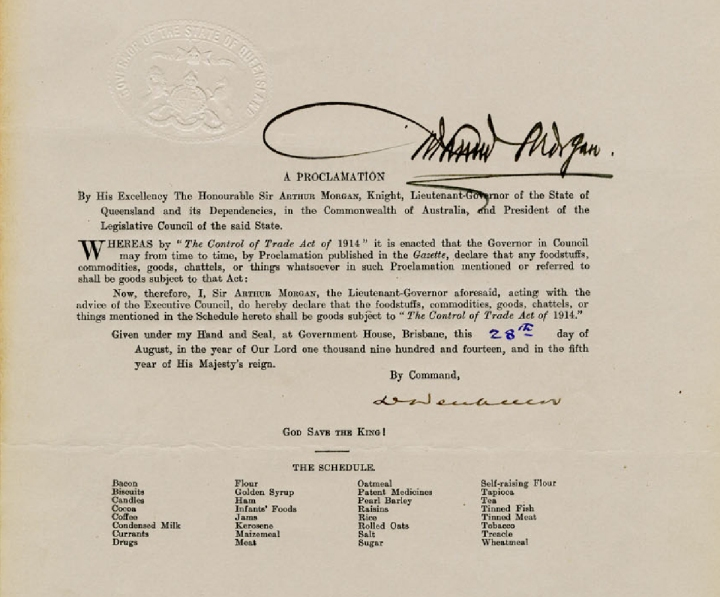 """Proclamation declaring certain goods to be subject to """"The Control of Trade Act 1914"""", 28 August 1914"""