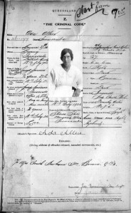 Queensland State Archives Digital Image ID 18055: Photographic record, description and criminal history of Ada Allen, 1 March 1921