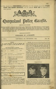 Queensland State Archives Digital Image ID 23435: Queensland Police Gazette - Vol LXI, No 66, pp 653-654, 6 December 1924
