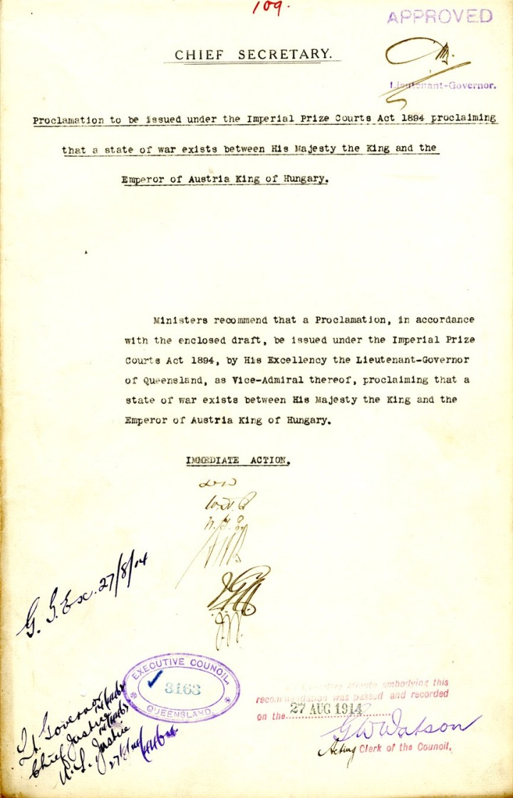 Proclamation of a state of war between His Majesty and the Emperor of Austria, King of Hungary, 27 August 1914. QSA Digital Image ID 24336