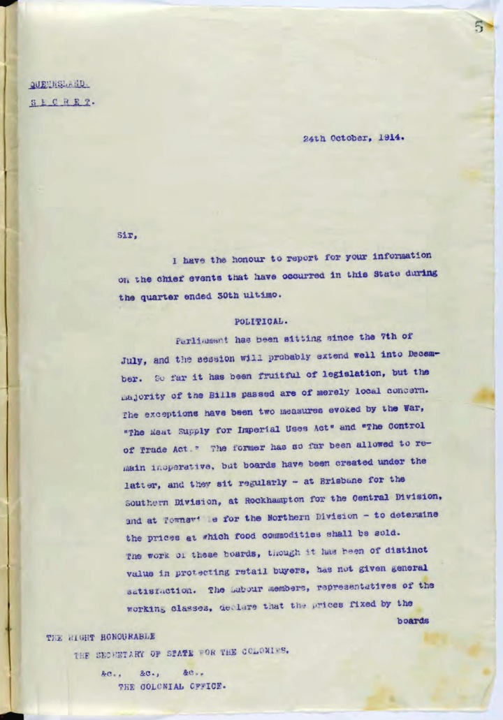 Secret despatch for quarter ending 30 September 1914, outlining events in the State of Queensland from the Lieutenant-Governor Hon Sir Arthur Morgan to the Secretary of the State for the Colonies