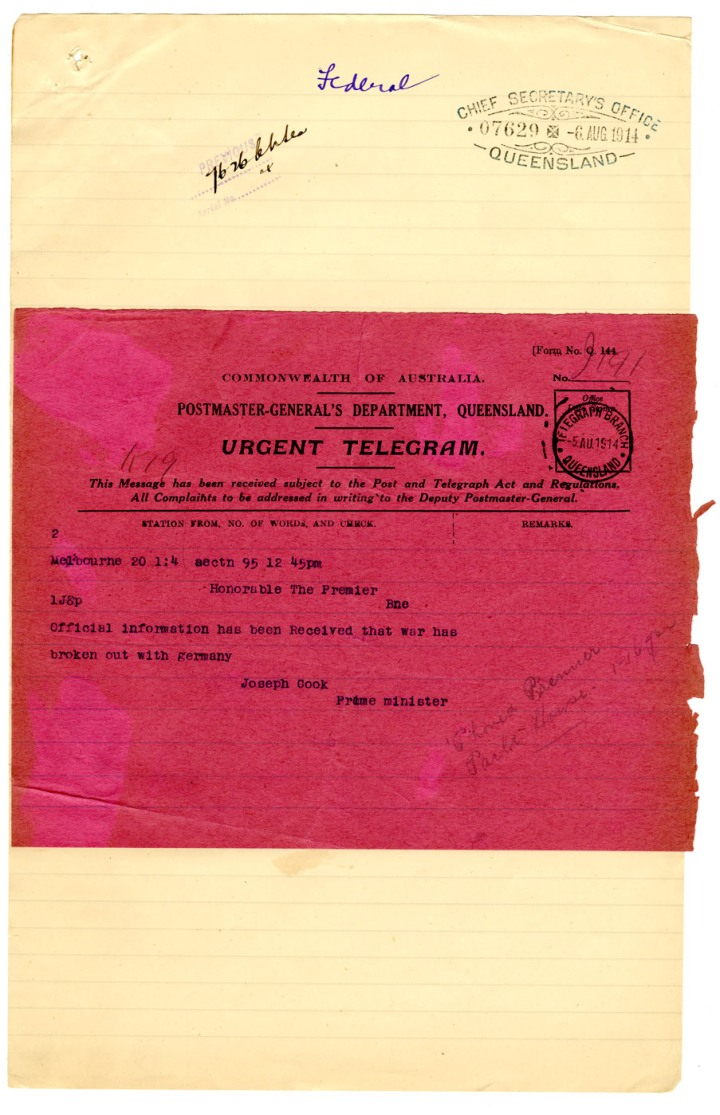 Telegram to the Premier of Queensland from Joseph Cook, Prime Minister of Australia advising that official information had been received that war has broken out with Germany. QSA Digital Image Id 26715