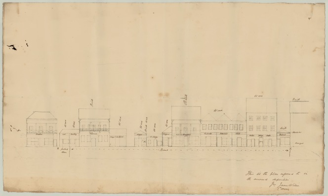 Plan of damaged or destroyed buildings in Queen Street from the inquest into the 1864 fire, April 1864. Queensland State Archives, Digital Image ID 27273