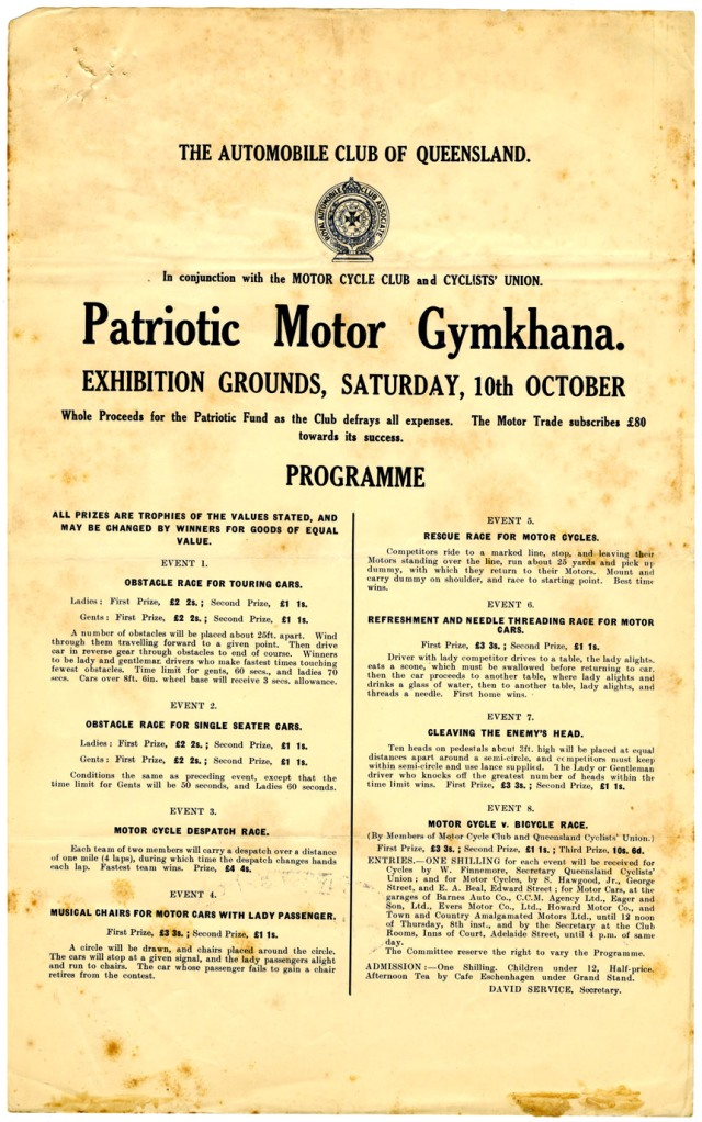Flyer advertising the programme of the Patriotic Motor Gymkhana organised by The Automobile Club of Queensland, 10 October 1914. Queensland State Archives Digital Image ID 26788