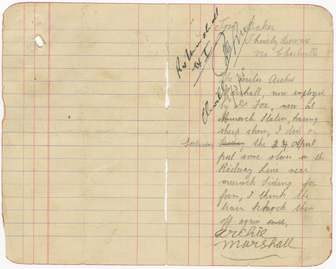 Signed statement by Archie Marshall contained in Queensland State Archives, Digital Image ID 27336