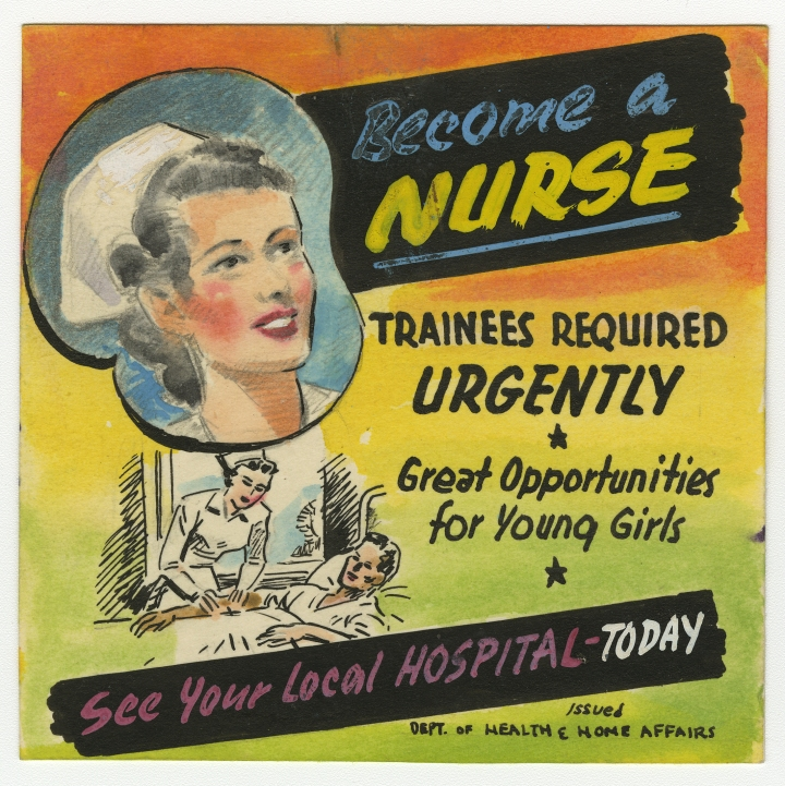 Design for a theatre slide advertising nursing training, 14 January 1946. Queensland State Archives, Digital Image ID 23548