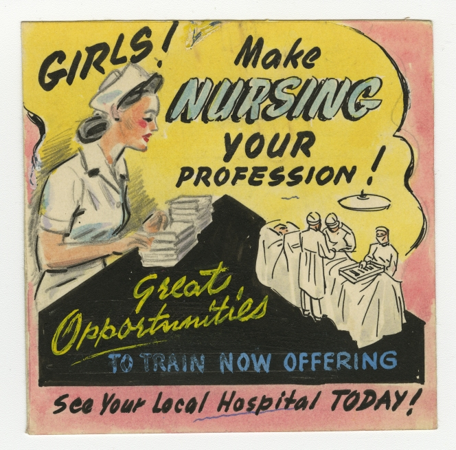 Design for a theatre slide advertising nursing training, 14 January 1946. Queensland State Archives Digital Image ID 23549