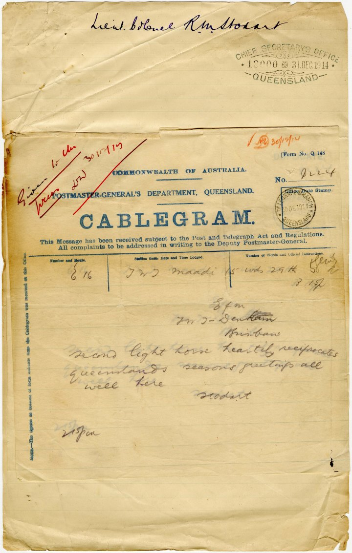 QSA Item ID 861786 Correspondence and papers re Great War Pg001