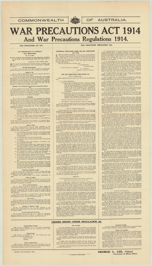 "Poster displaying the ""War Precautions Act 1914"" and ""War Precautions Regulations 1914"", 27 November 1914"