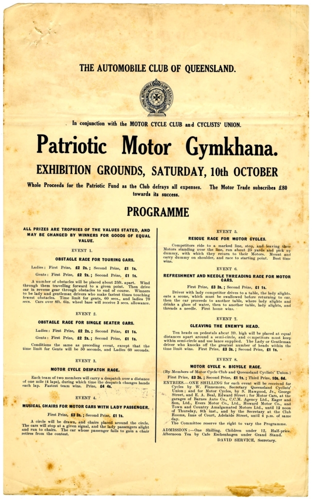 Flyer advertising the programme of the Patriotic Motor Gymkhana organised by The Automobile Club of Queensland, 10 October 1914