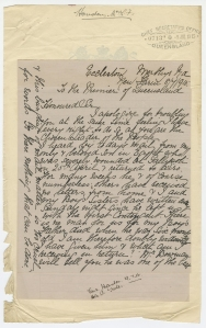Queensland Archives image of Lallie Fowler Houston letter to Queensland Premier T J Ryan
