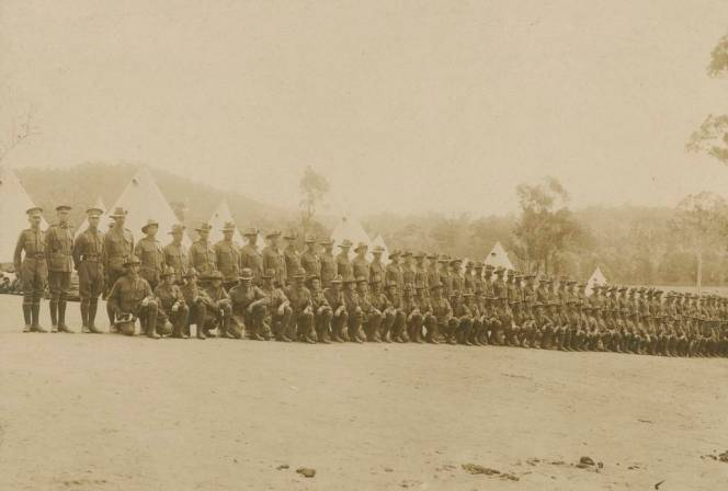 Soldiers at the Enoggera Army Barracks 1914. Picture courtesy of the State Library of Queensland