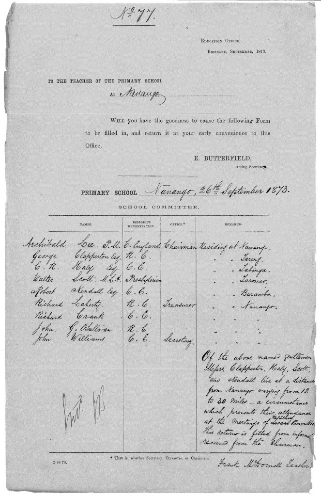 Nanango School Committee 1873 (1)