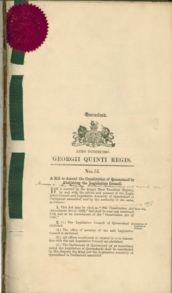 Bill to amend the Constitution of Queensland by abolishing the Legislative Council, 24 March 1922
