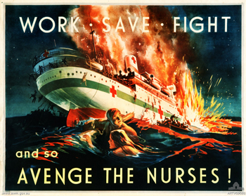 Depicts the Hospital ship, 'Centaur' being attacked by the Japanese off the coast of Queensland, during the Second World War. In the water below the ship are a number of nurses and sailors from the ship. The sinking of H S Centaur took place off the Queensland coast in May 1943 and 286 lives were lost, including 11 out of 12 nurses. The poster depicts moments after the ship was torpedoed; it later sunk