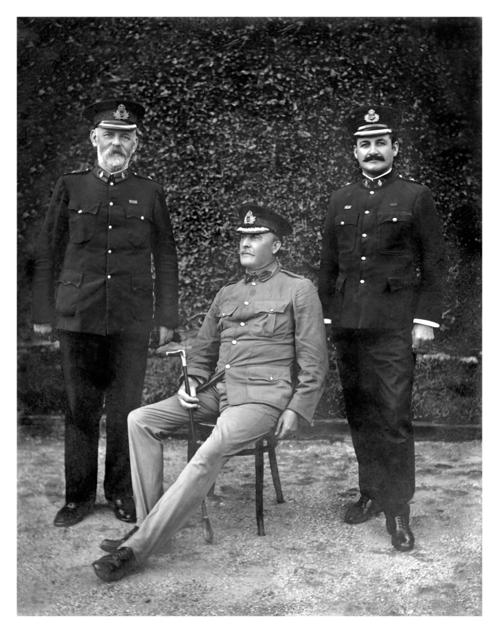 Inspector 2/c GERAGHTY, Commissioner CAHILL and Chief Inspector URQUHART at the Depot Ceremonial Arch; original photo believed to be taken in c1905