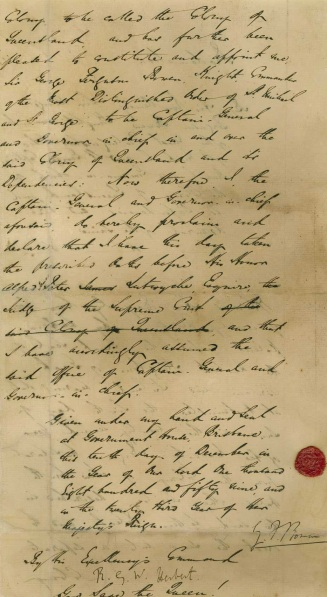 The Proclamation of Queensland document, 10 December 1859