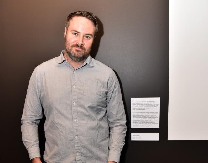 O'Mara with artwork