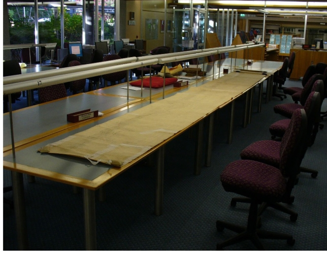 Railway map on a reading room table at the Queensland State Archives